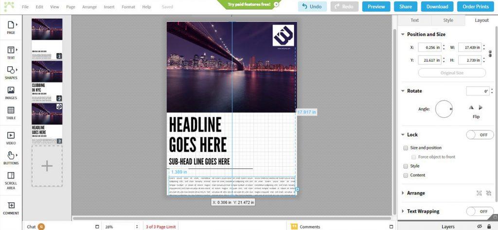 Schermata di Lucidpress, software per impaginare online