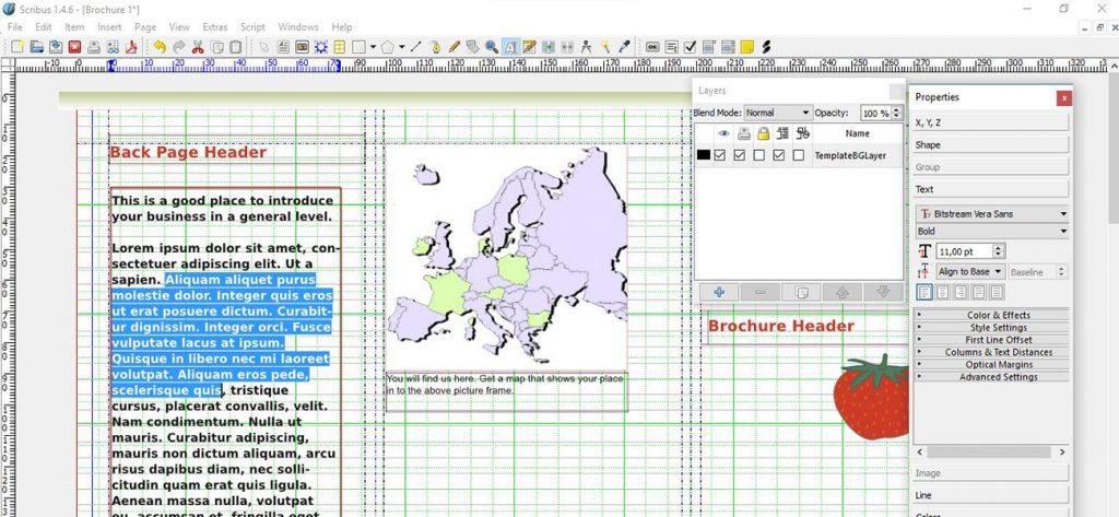 Schermata di Scribus: programma di impaginazione open source