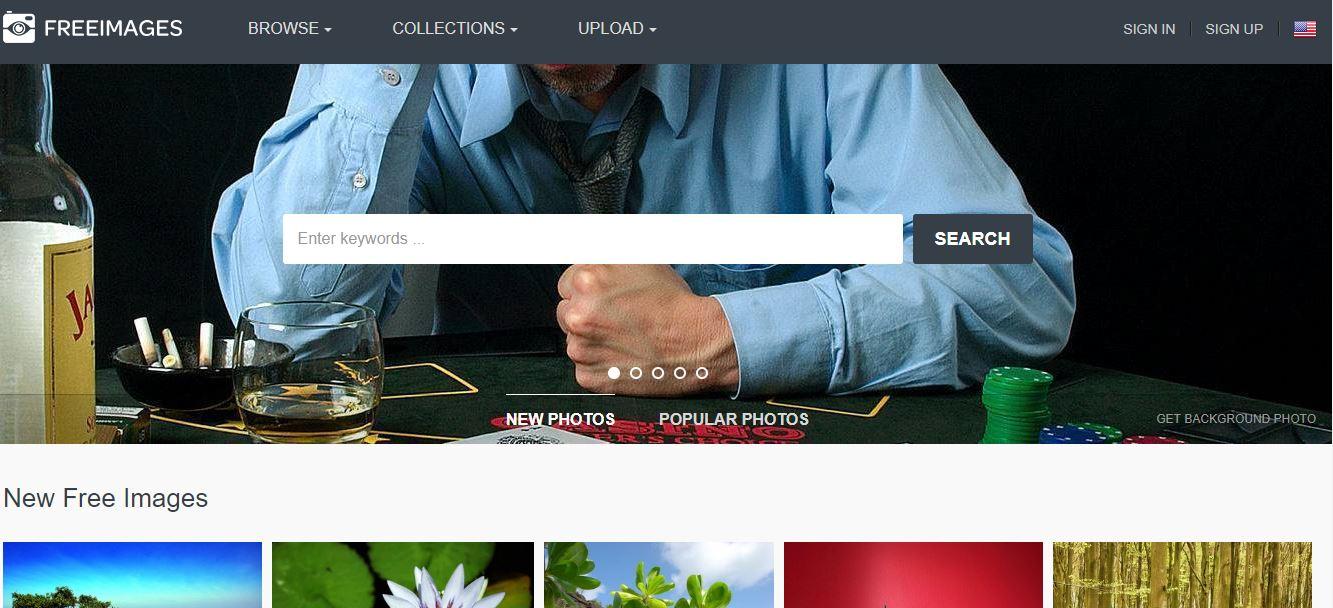 L'home page del sito di immagini gratis Freeimages