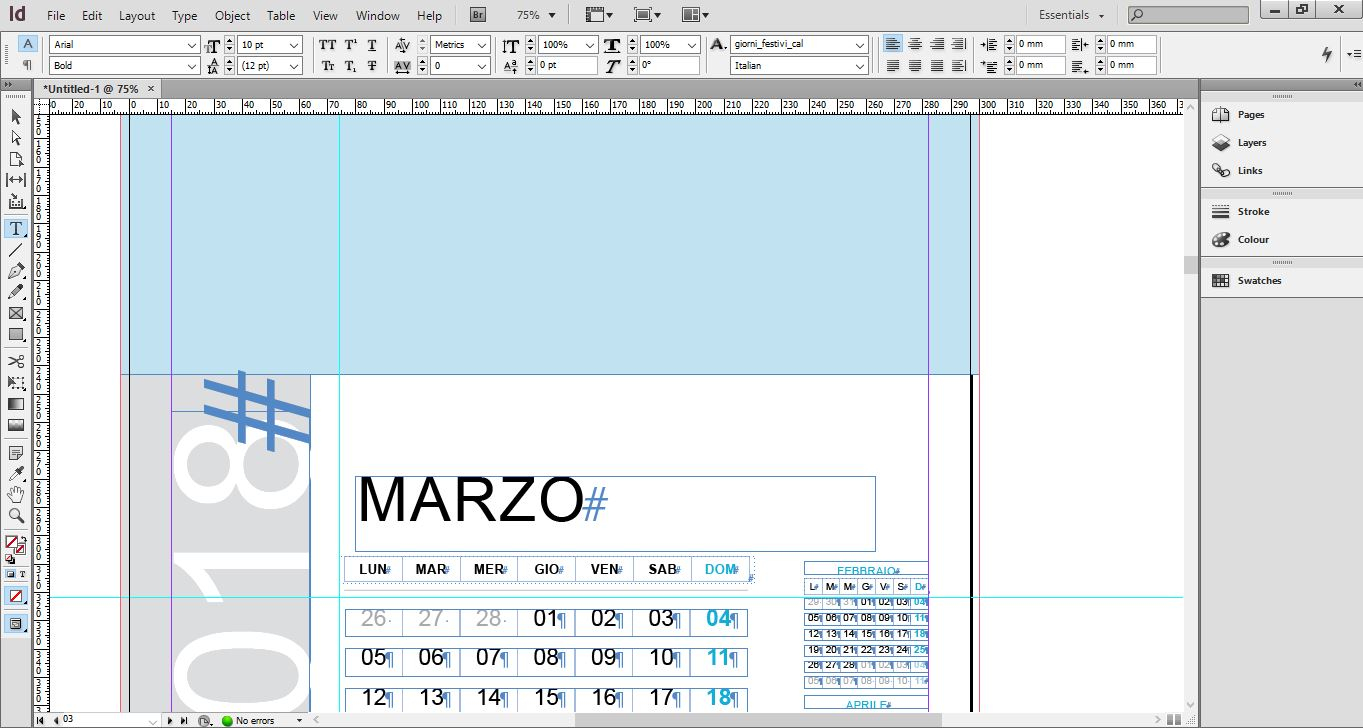 """Interfaz de Adobe InDesign para crear calendarios con fotos"""