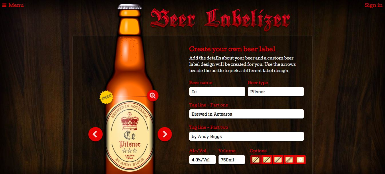 """Screen from the Beer Labelizer software."""