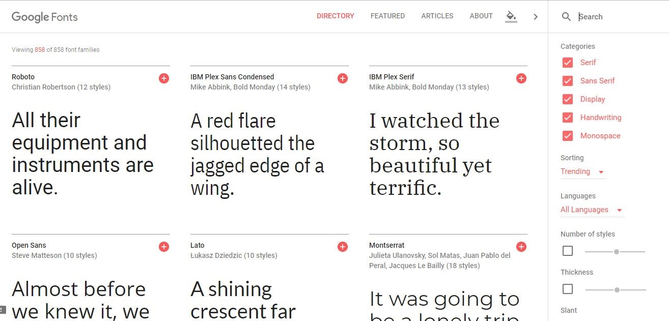 Google Fonts: free downloadable fonts