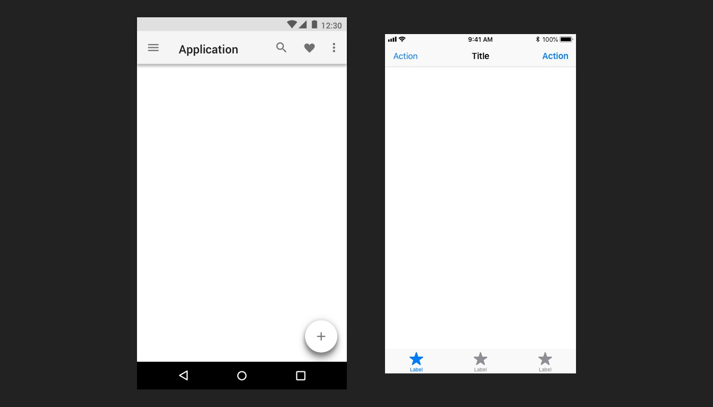 Example of the basic navigation elements in Android (left) and iOS (right)