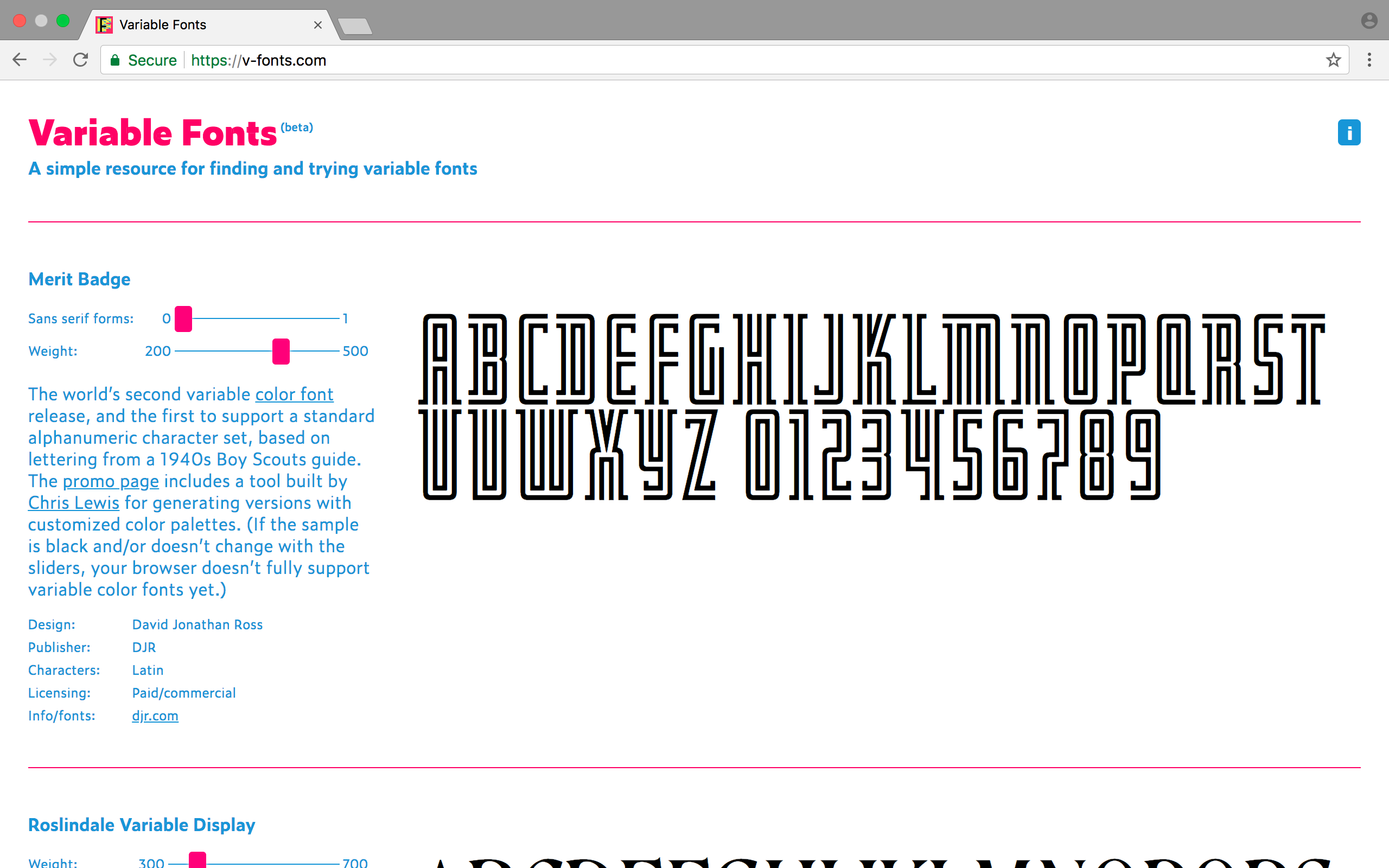 The website Variable Fonts provides information on variable fonts