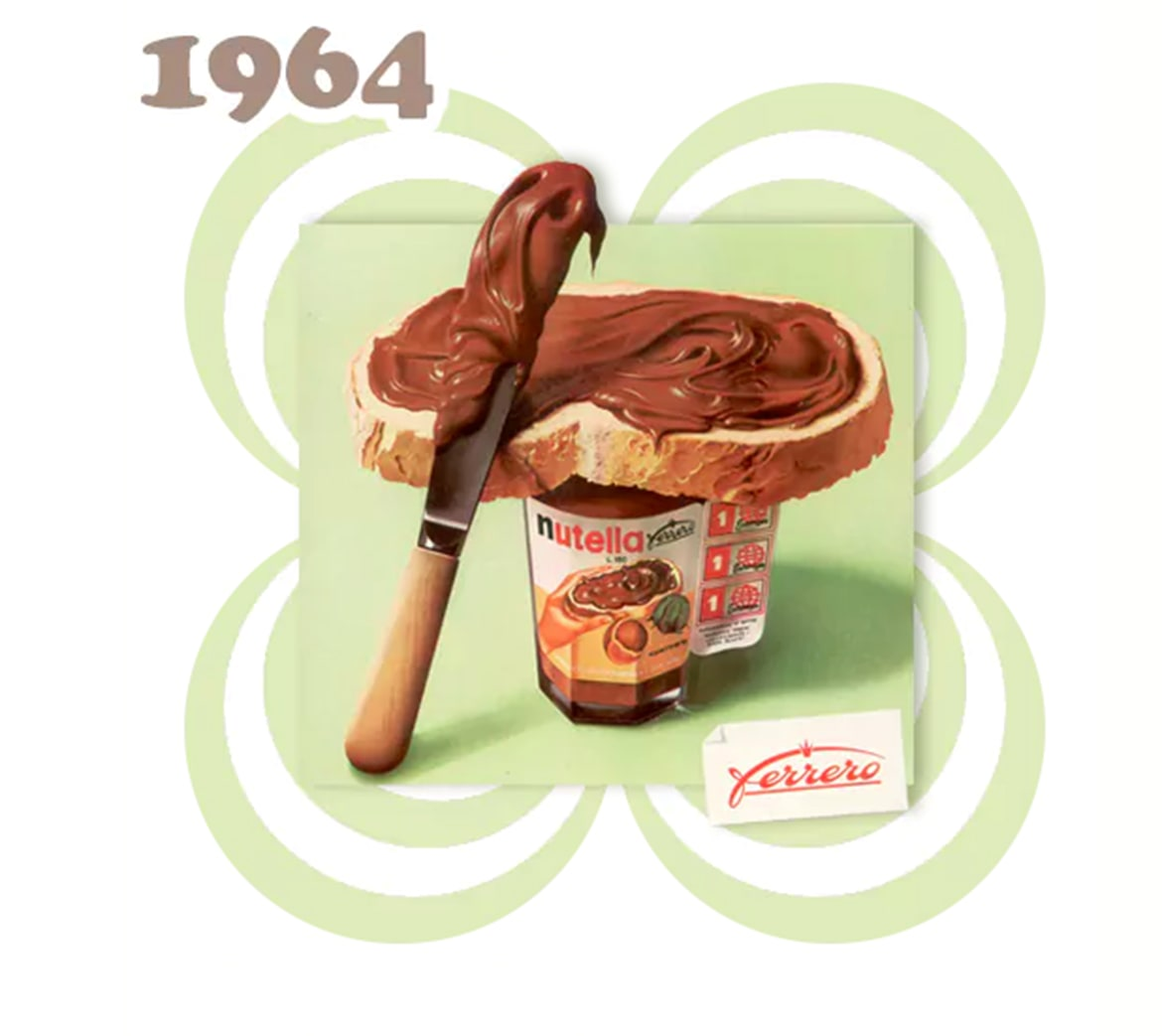PRIMER TARRO DE NUTELLA, créditos al sitio web de Nutella: https://www.nutella.com/it/it/la-storia-di-nutella#1964