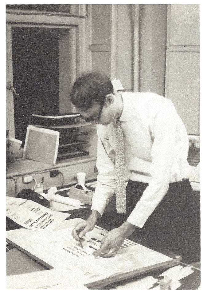 Brian, aged 24 doing photo lettering at Photoscript in 1965