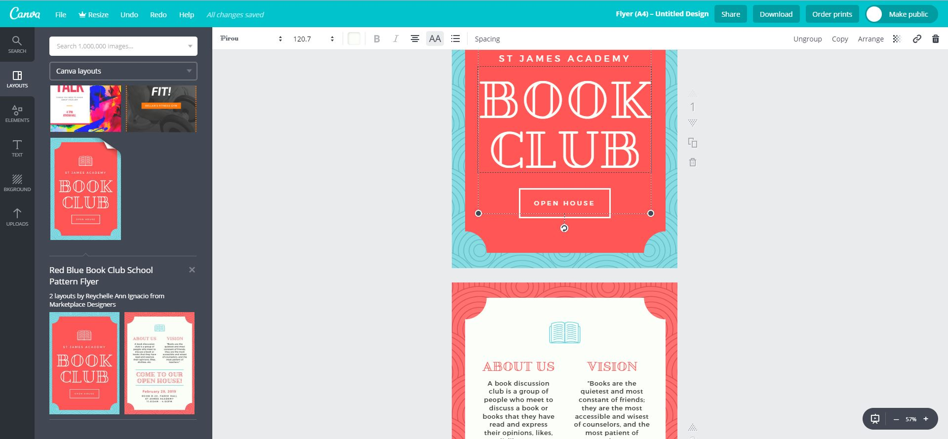Screenshot of promotional flyers on Canva