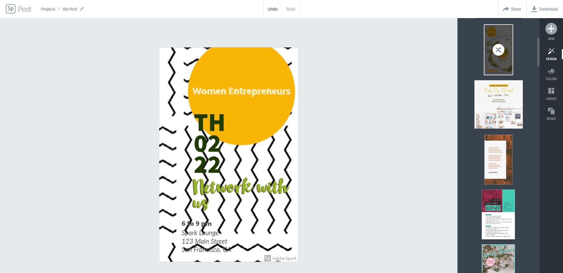 Schermata per creare volantini pubblicitari su Spark