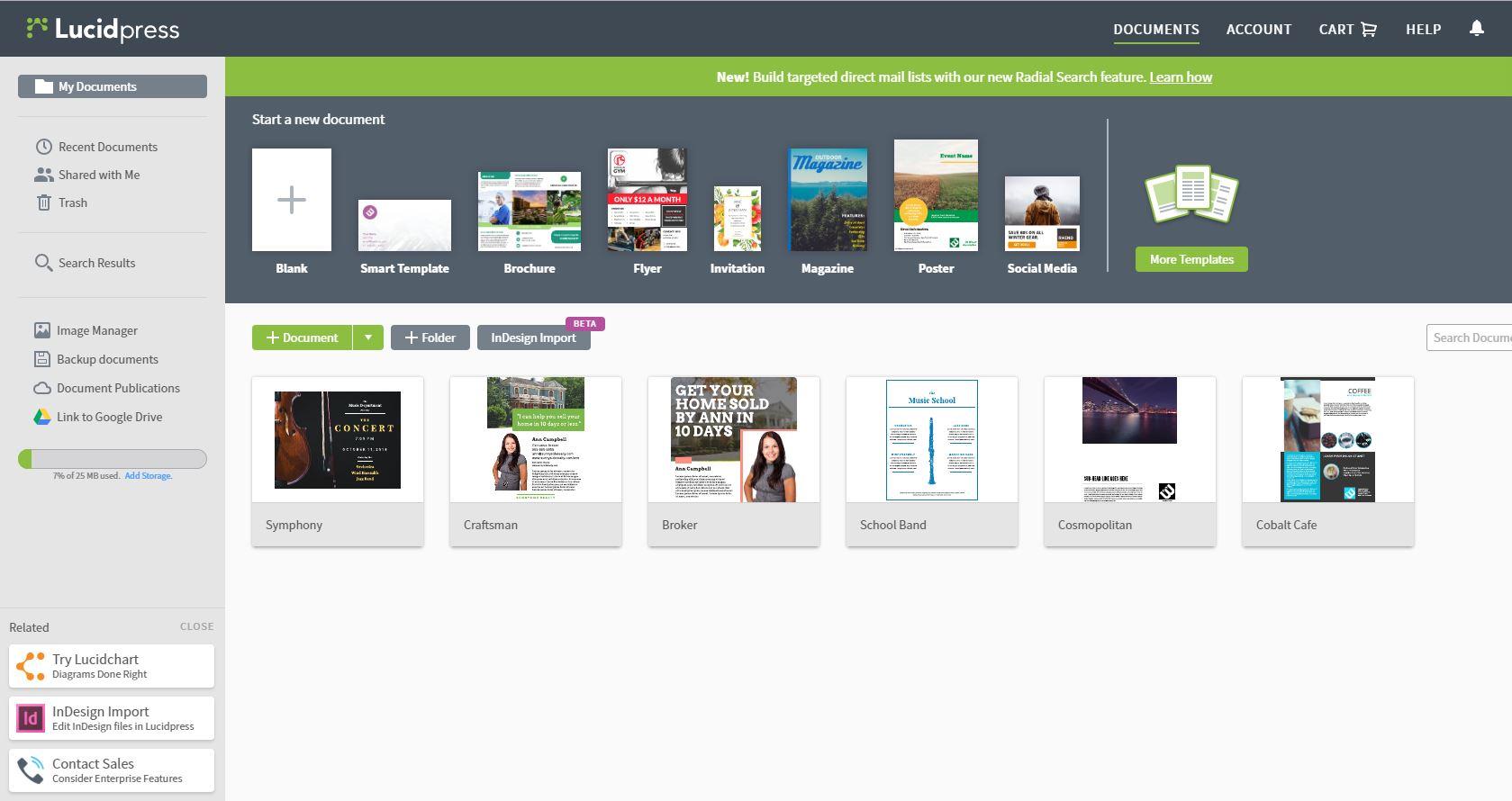 Ein Screenshot, der die Erstellung von Werbeflyern mit Lucidpress erklärt