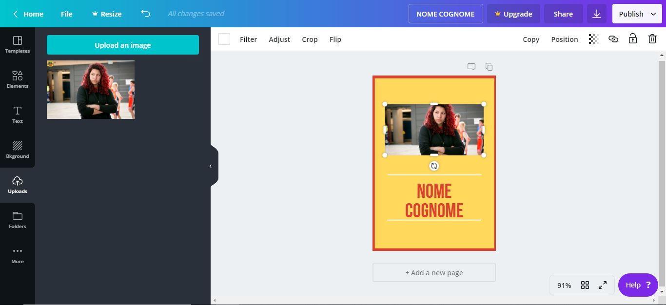 Captura de pantalla de Canva, un programa para crear tarjetas de propaganda electoral gratis