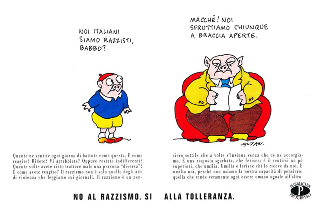 "gnette d'Altan pour la campagne ""No al razzismo"""