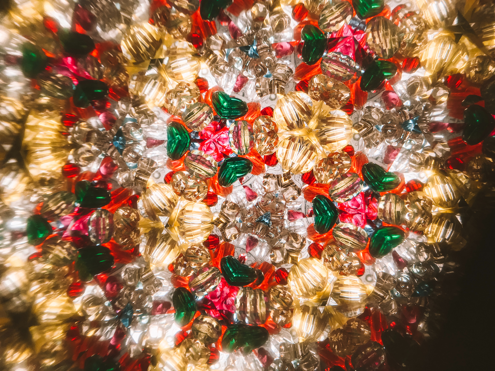 Decorations in Christmas colours