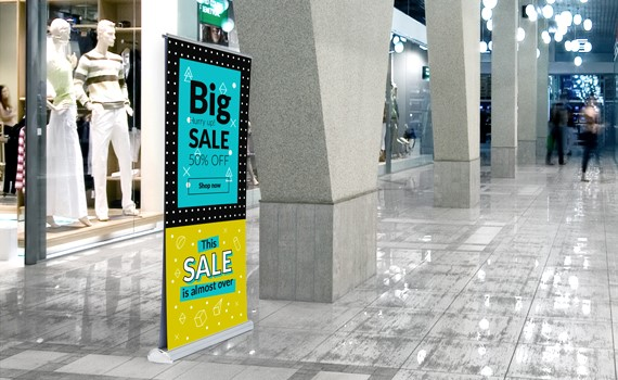 An example of a double-sided roller banner""