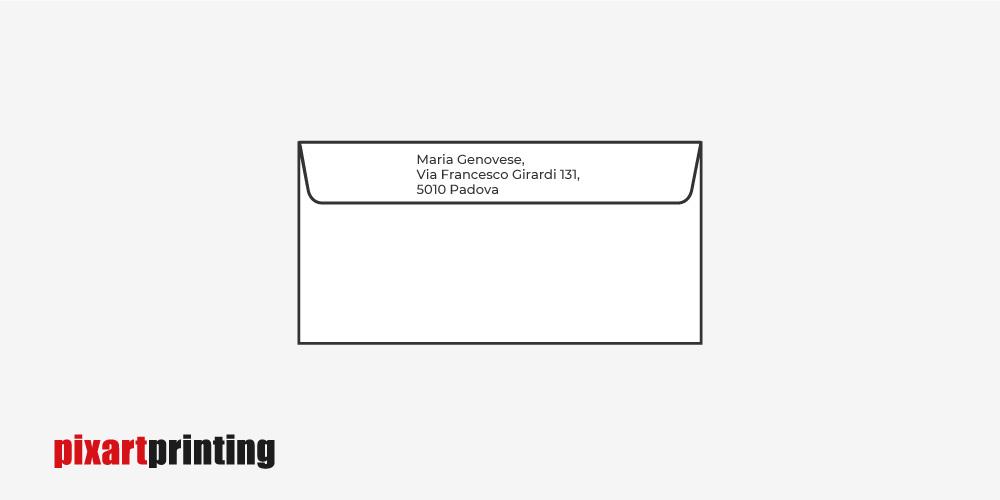 Busta da lettera con Indirizzo del mittente su tre righe