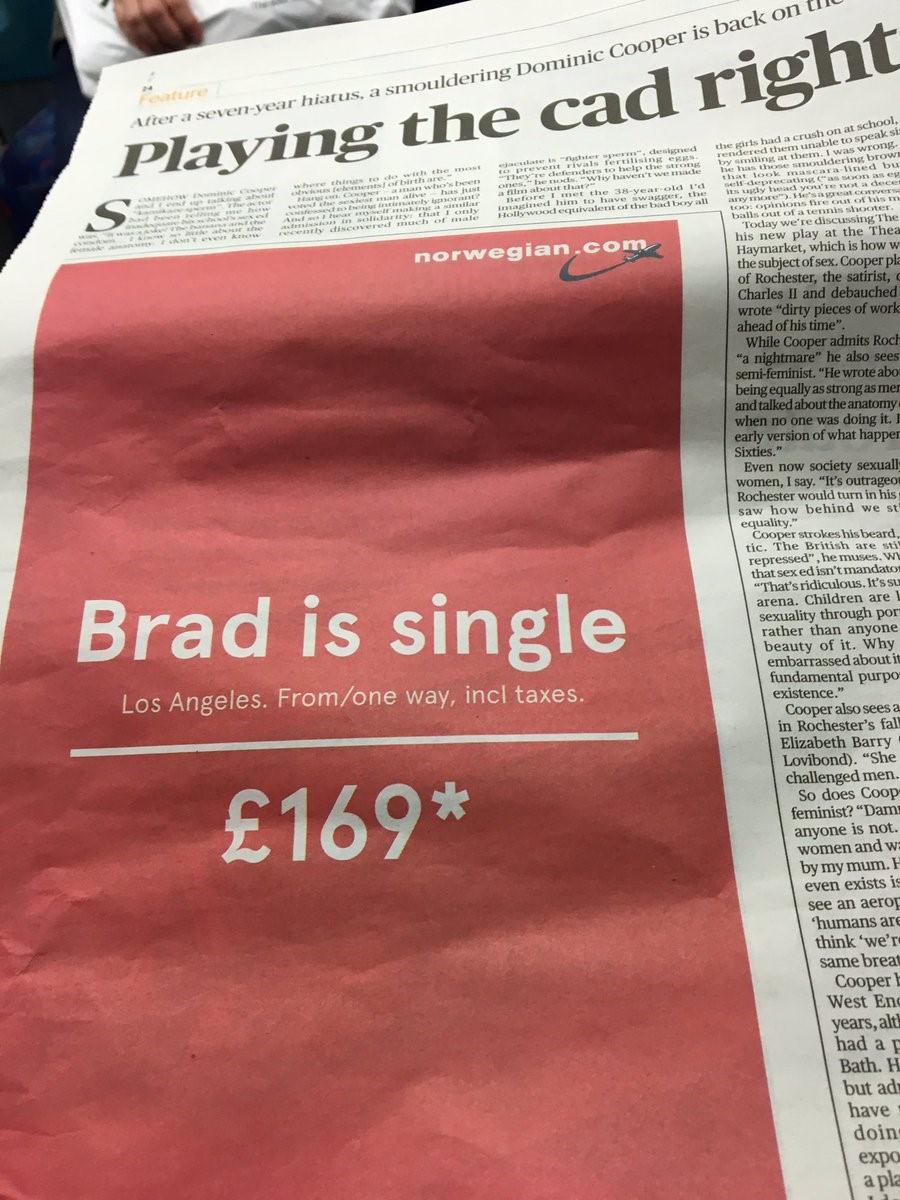 L'ingénieuse page publicitaire conçue par le Norvégien et déclinée sur papier imprimé