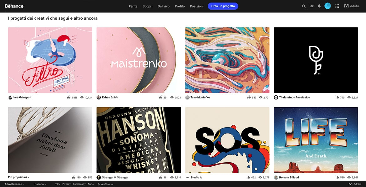 Behance: this is what it looks like to its users