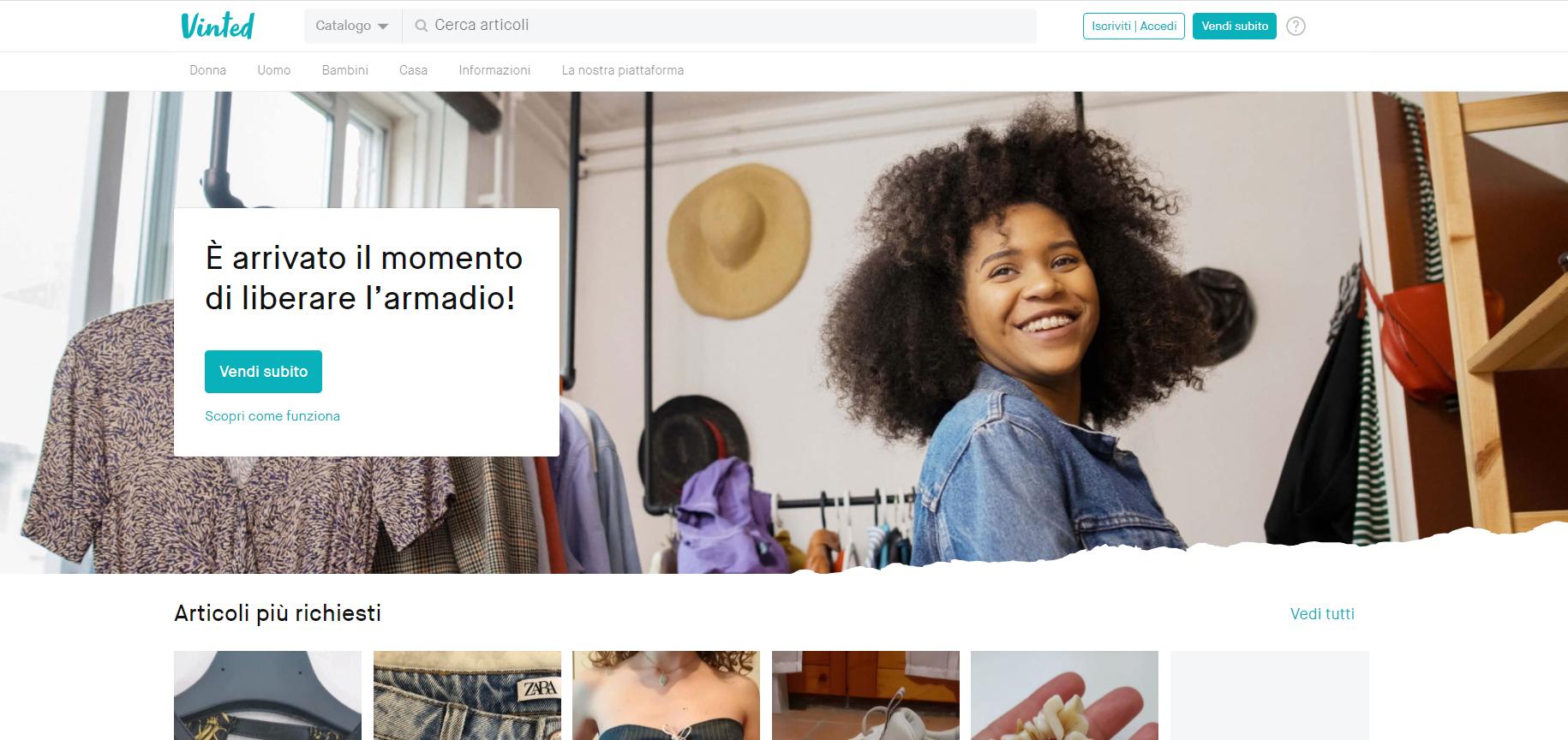 Vinted: sito per vendere online abbigliamento