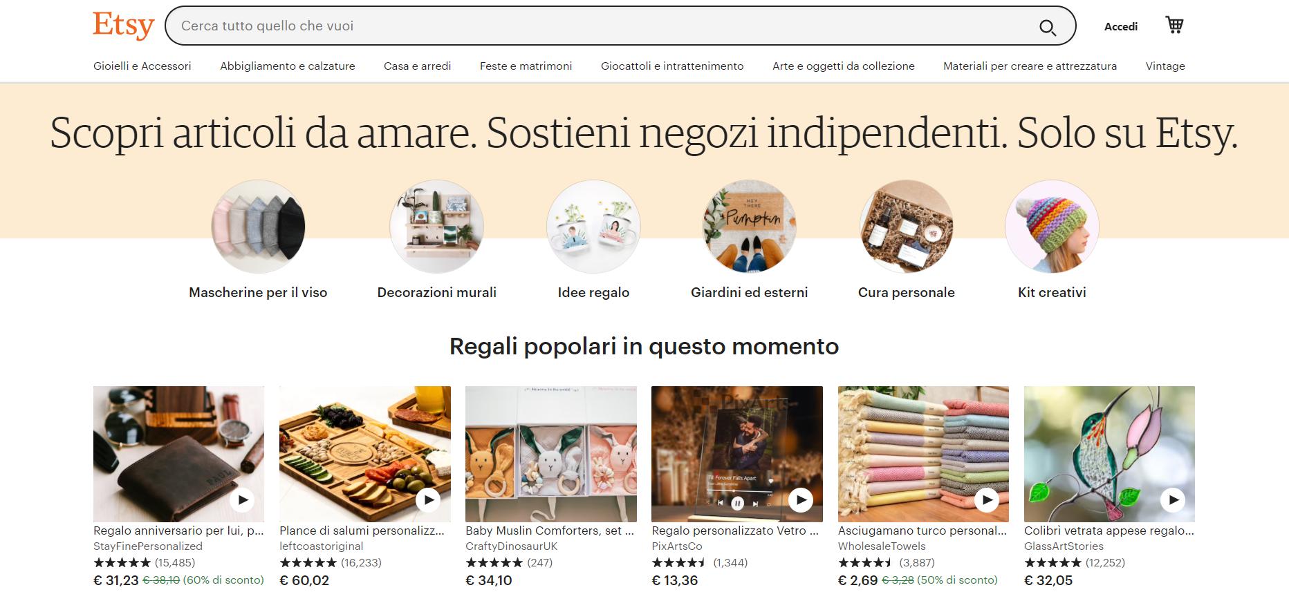 Etsy, una página de venta online de productos artesanales