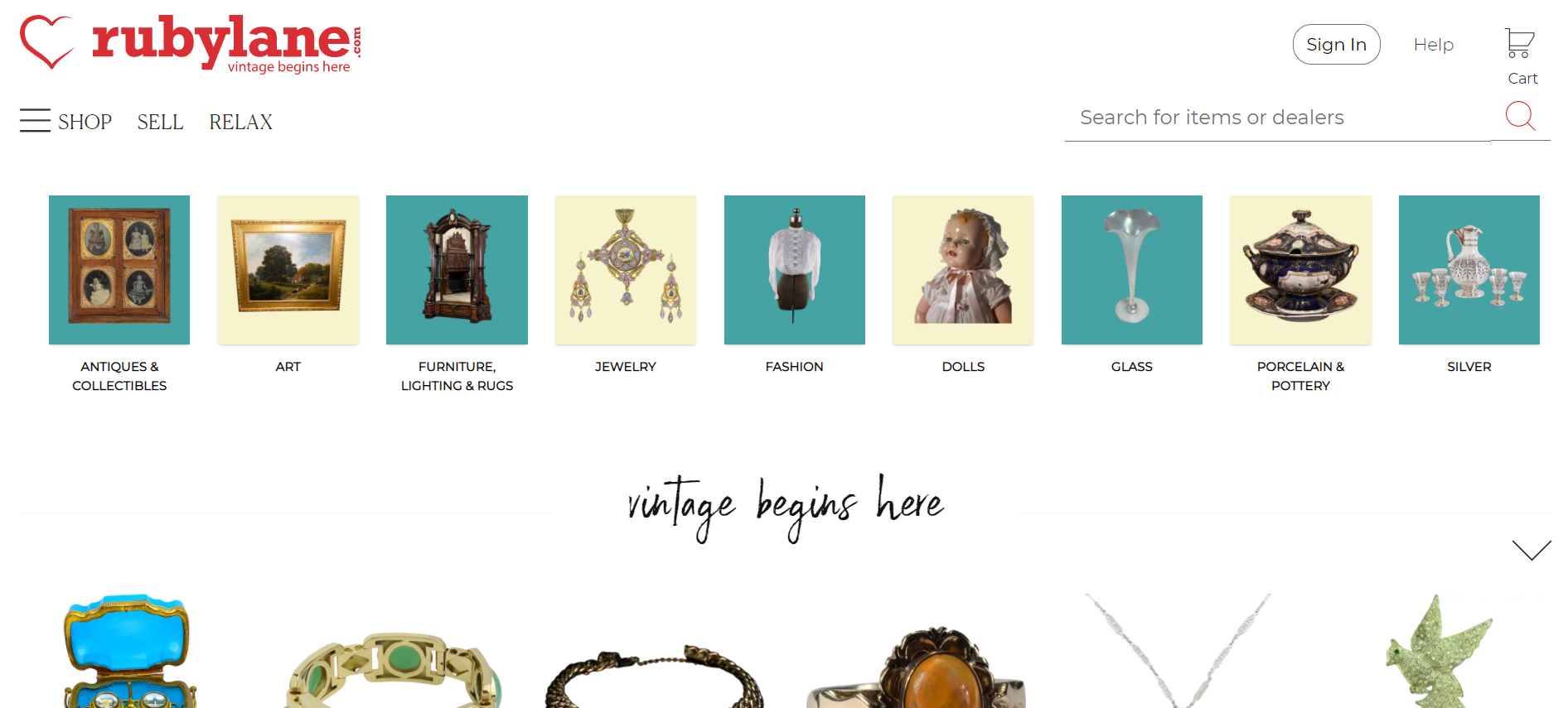 Ruby Lane, una página para vender online productos vintage